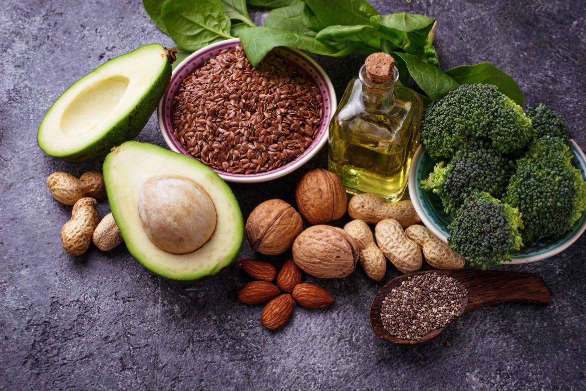 Vegan fat sources – flax, spinach, broccoli, nuts, olive, oil and avocado.