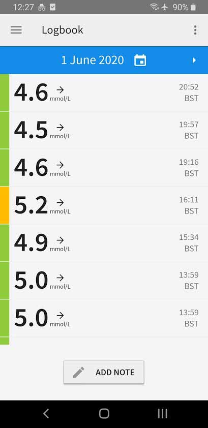 Screenshot of the Libre Freestyle Continuous Glucose Monitor app