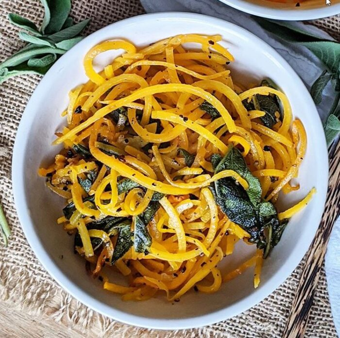 Bootles or butternut squah noodles are a great low carb pasta alternative