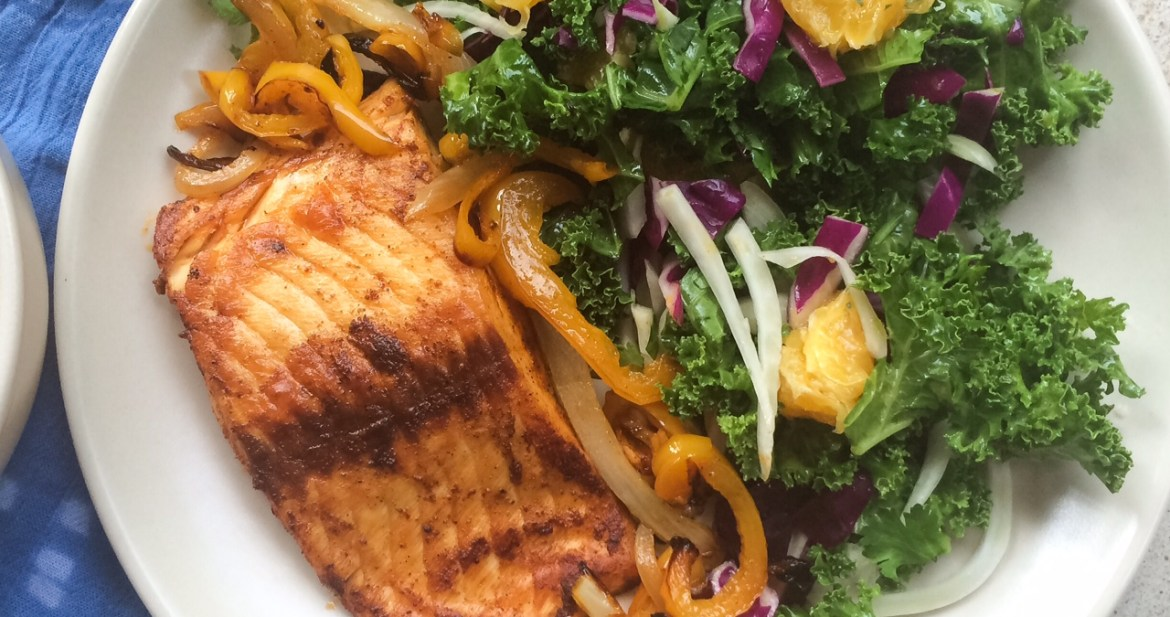 Southwest salmon with peppers and onions