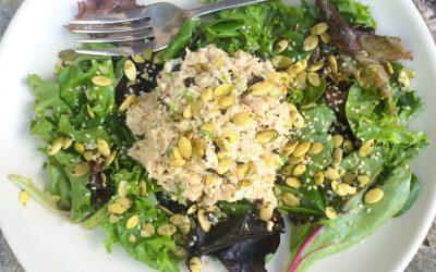 Tuna Salad Over Greens (with Seeds & Currants)