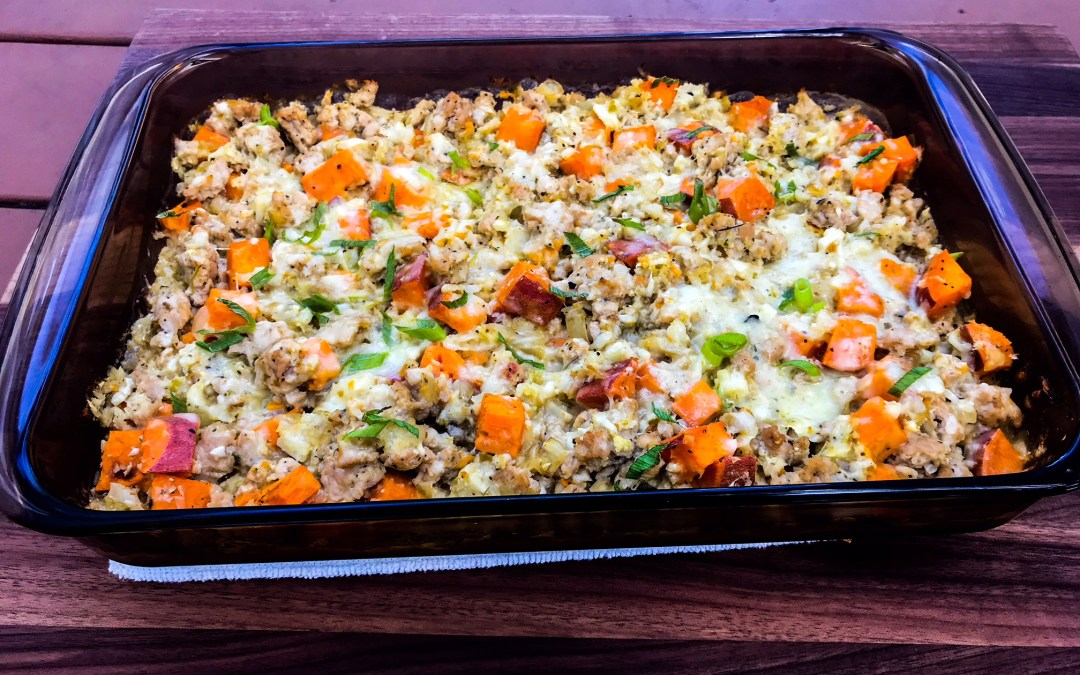 Turkey Tomatillo Casserole (with Riced Cauliflower and Sweet Potatoes)