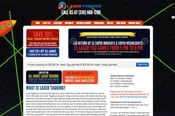 Website Design and Development project for Laser Tagging Inc
