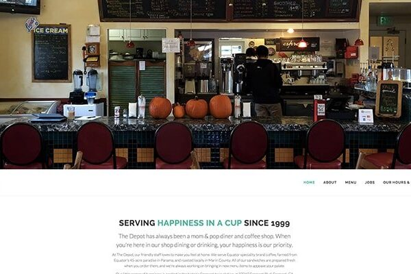 Website design project for The Depot Cafe