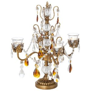 Amber & Antique Gold 18inch High Beaded Candelabra