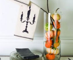 Halloween Candelabra Table Runner & Tea Towels and more!