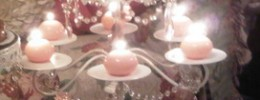 White and Pink Beaded Multi Cake Stand Candelabra