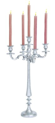 Intricately Designed Aluminum Candelabra Holds 5 Candles