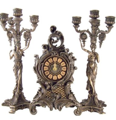 Bronze Gothic Mantle Clock with Toga Lady Candelabra Candleholder