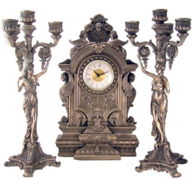 Clock Ancient Roman Sphinx Figure 16 Bronze Clock with Toga Lady Candelabra Candleholders