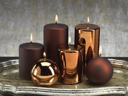 Satin Metallic Pillar Candle  brown