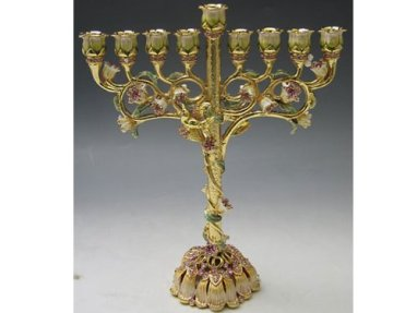 Enamel Ivory and Green Hanukkah Menorah with Amber Crystals