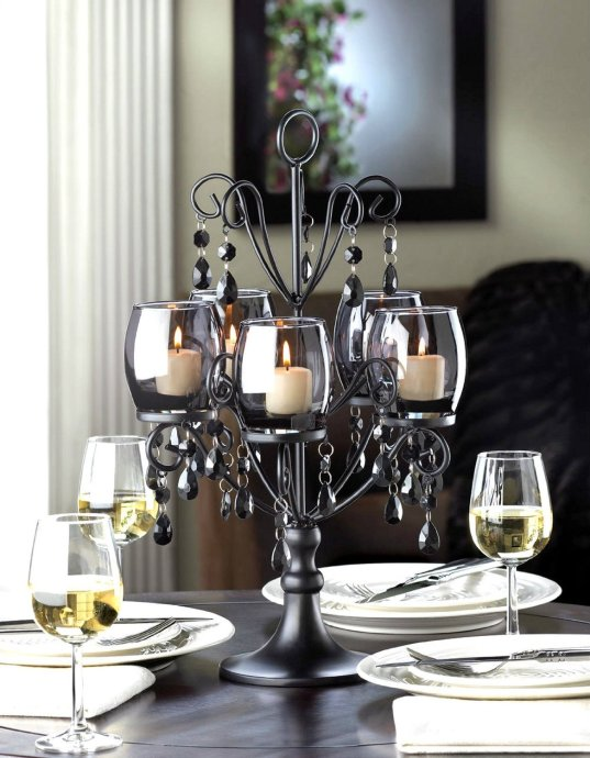 BLACK Beaded Crystal chandelier CANDELABRA Candle Holder Wedding centerpiece