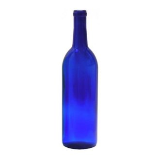 750 ml Cobalt Blue Glass Claret Bordeaux Bottles, 12 per case
