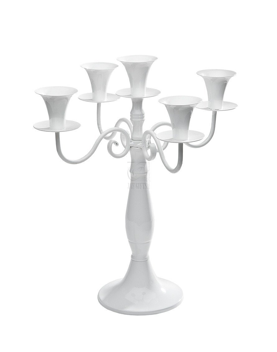 White Wedding Candelabra Centerpiece