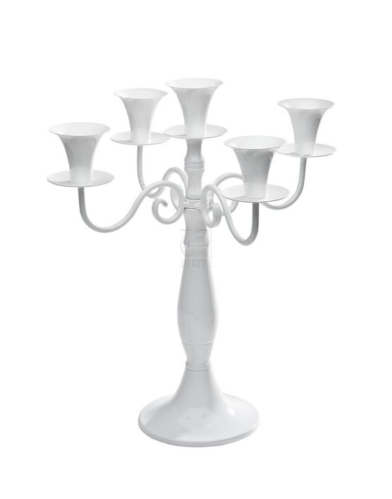 White Metal 5 Light Candelabra centerpiece