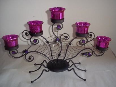 Purple Halloween Spider & Web Black Metal Candelabra