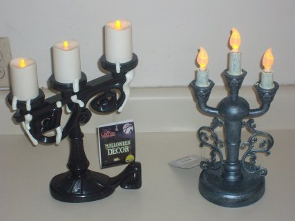 Halloween prop CANDELABRA LOT. lot of 2. Screaming and GOTHIC CANDELABRAS.