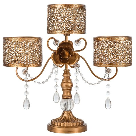 antique look candelabra with scrollwork detail and rose accent