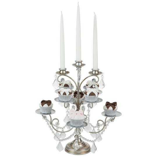 Cupcake Candelabra 8 Piece Cupcake Stand with 3 Glass Votive Candle Holders, Crystal Dangles (Silver) with taper candles