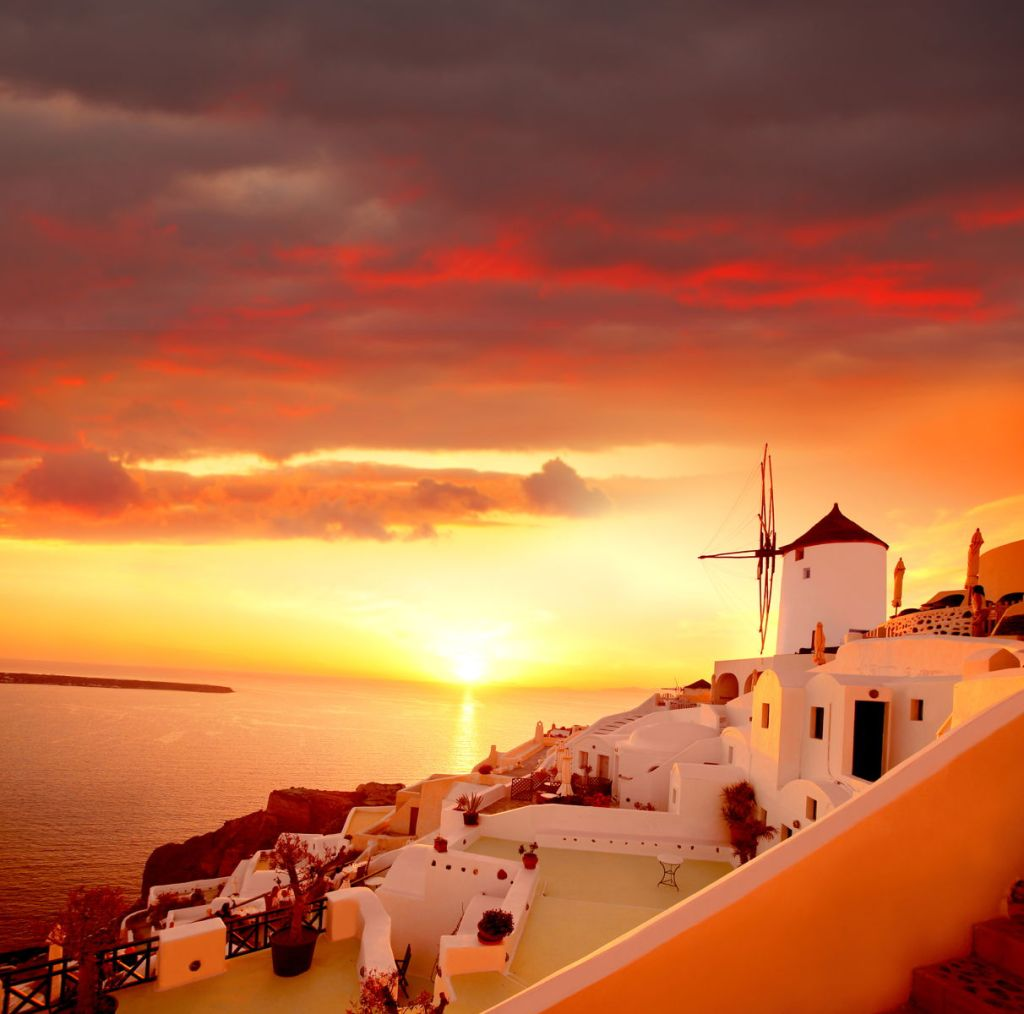colorful sunset Santorini Greece