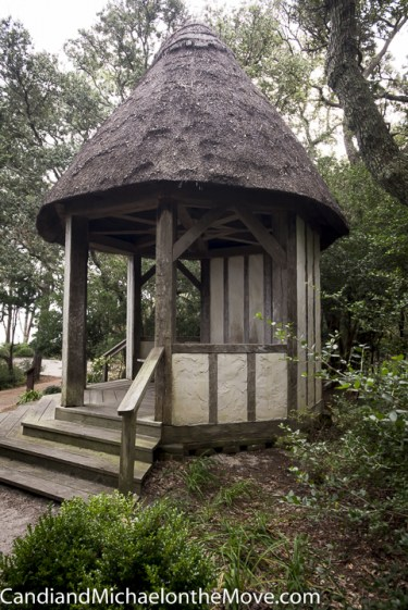 The gazebo, with a Norfolk reed thatch roof, overlooks the Roanoke Sound
