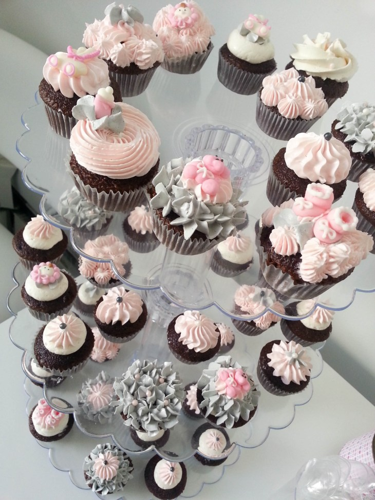 Baby shower mini cupcake (Pink, Grey, white theme)