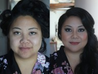 Bridesmaid hair and makeup before and after