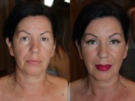 Mother of the bride makeup before and after in association with prep