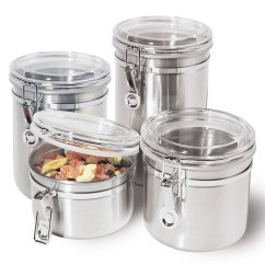 Kitchen Canister Two Person Table Details About Oggi 4 Pc Stainless Steel Jar Container Set W Airtight Lid New Main Image