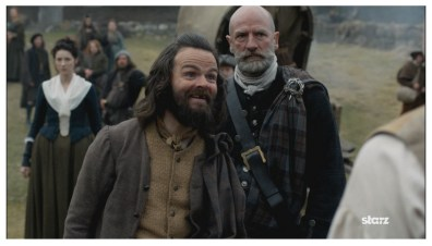 Stephen Walters as Angus Mohr and Graham McTavish as Dougal MacKenzie with Caitriona Balfe as Claire Randall