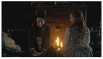 Caitriona Balfe as Claire Randall & Lotte Verbeek as Geillis Duncan