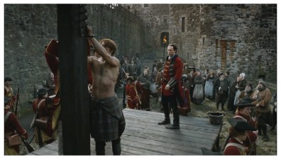Sam Heughan as James Fraser & Tobias Menzies as Captain Jonathan Randall