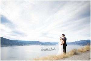 Bride and Groom at Overlooking Okanagan Lake