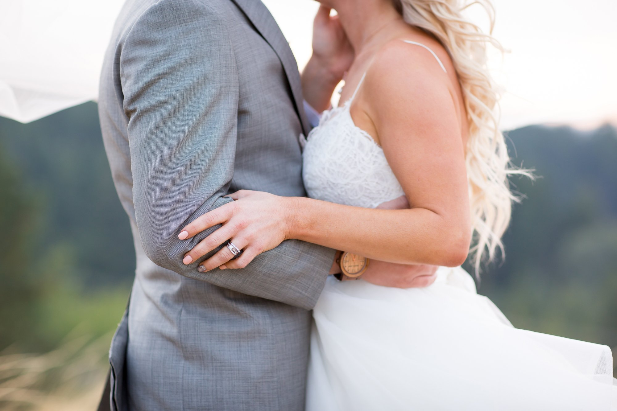 Closeup of a bride and groom's golden hour embrace
