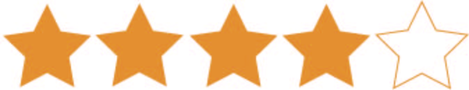 four stars and one empty one meant to signify a four star review