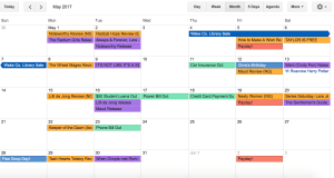 multi-colored Google Calendar
