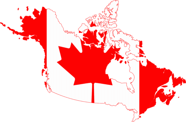 Map of Canada as a Canadian flag.