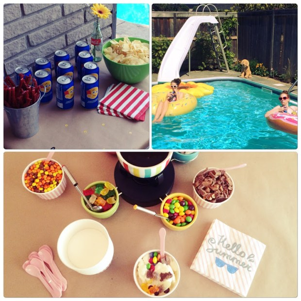image of a pool party with food and a sundae bar