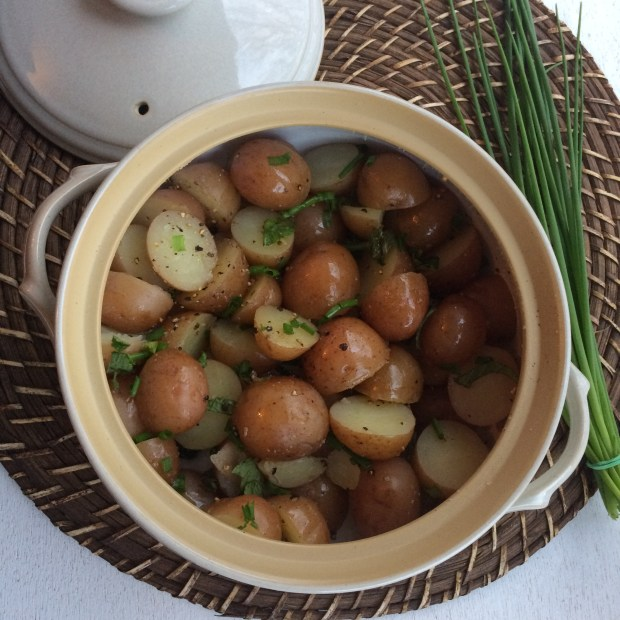 potatoes in a casserole dish