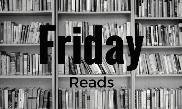 Bookshelves with the words Friday Reads.