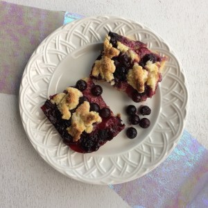 Image of blueberry squares on a white plate