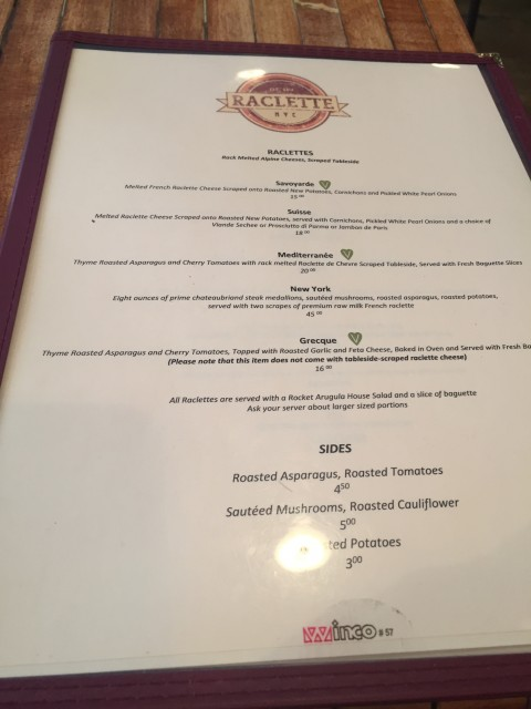 Raclette NYC Menu