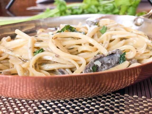 Lemon Butter Cream Sauce over Linguine Pasta with Mushrooms