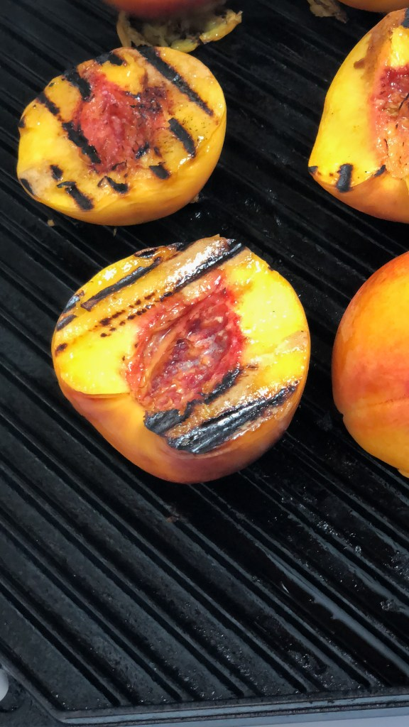 Kosher Dessert: Grilled Peaches with Bourbon Caramel and Cinnamon Whip