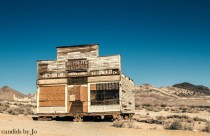 The remains of Rhyolite, a ghost town in Death Valley