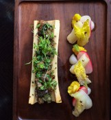 Roast marrowbone with snails, parsley, anchovy, mace & pickled vegetables