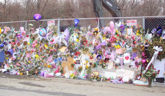 Flowers and balloons were placed in honor of the 100 people who were killed during the Great White concert on February 20, 2003. The Station Nightclub fire is the fourth deadliest nightclub fire in U.S. history