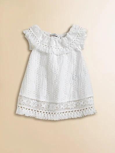 Dolce & Gabbana Infant's Crochet Dress in White. Saks Fifth Avenue