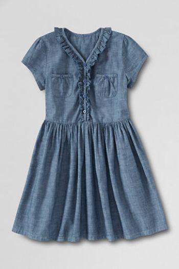 Toddler Girls' Chambray Front Pocket Dress. LandsEnd.com Easter